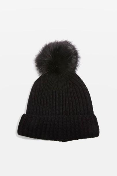 Topshop hat beanie pom pom beanie black