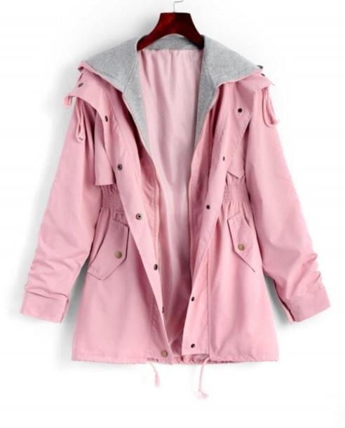 jacket girly pink anorak anorak jacket hoodie trench coat