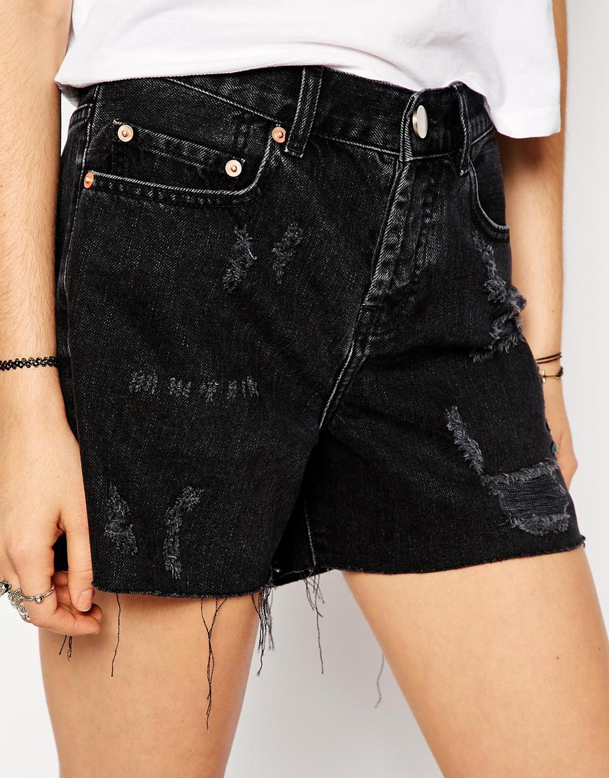 ASOS Denim Girlfriend Shorts in Washed Black at asos.com