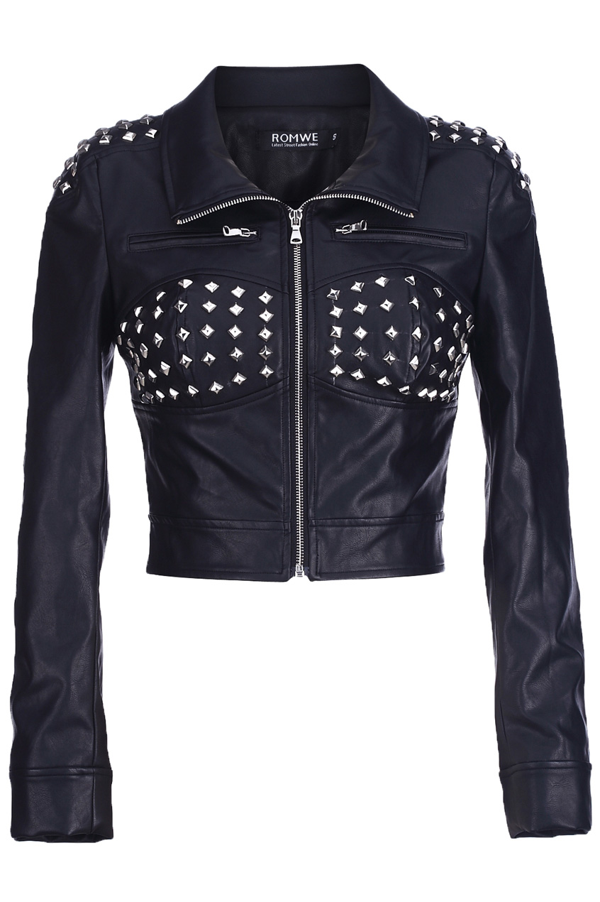 ROMWE | Riveted Black Faux Leather Jacket, The Latest Street Fashion
