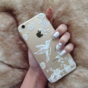 phone cover,gold,cool,for iphone 4,clear,fashion,iphone 6 case,iphone,stylish case,birds,iphone 6 gold phone case,girly,iphone 5 case,pretty,iphone cover,iphone 6plus,phone,tumblr,grunge,lace,white
