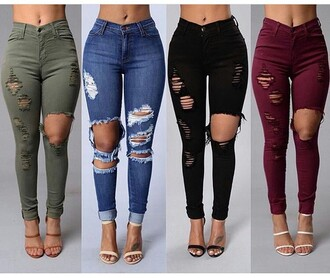 jeans pants high waisted ribed green red denim black