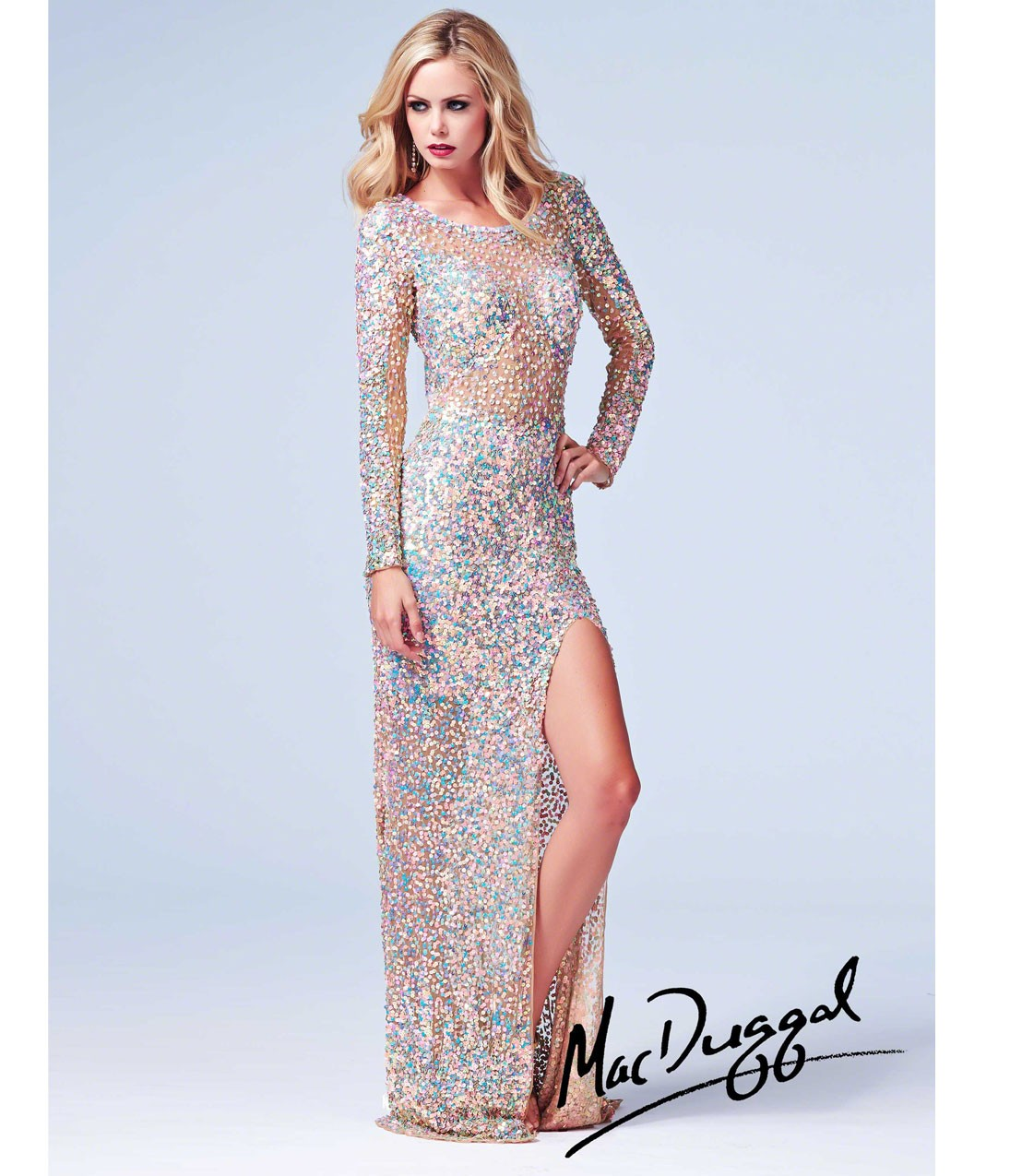 Duggal 2014 Prom Dresses - Nude Metallic Sequin Beaded Long Sleeve ...