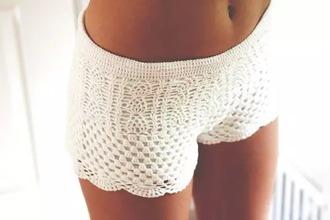 shorts white crochet crochet shorts crochet pants boho bohemian boho shorts bohemian shorts hippie hippie shorts