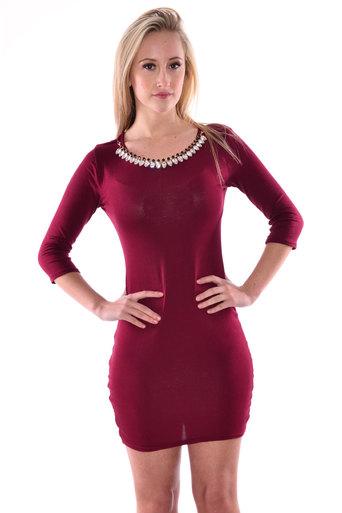 Womens Zeki 3/4 Quarter Sleeve Necklace Neck Bodycon Dress In Wine