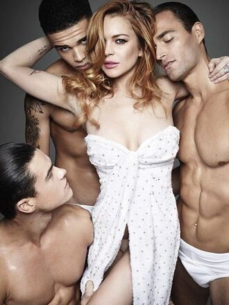 dress strapless lindsay lohan editorial