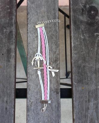 jewels charm bracelet bracelets pink bracelets accessories