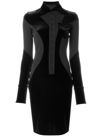 dress collared dress women spandex black