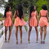 dress,peach dress,shoes,peach,cut-out,short,soft,pink sunglasses,coral dress,open back dresses,2014 hc,homecoming dress,pink dress,cute dress,cute,pink/orange,beautiful