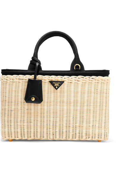 69094880c5bec9 Prada - Midollino large leather-trimmed canvas and wicker tote