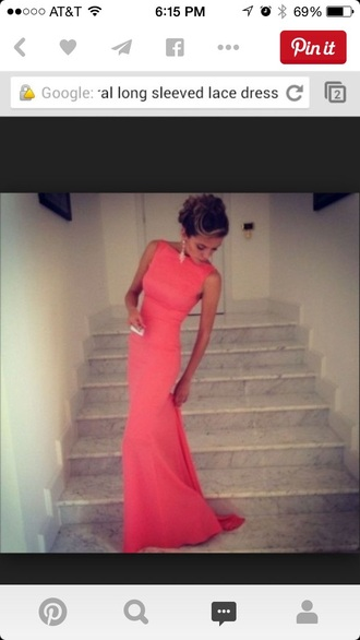dress prom dress long dress coral dress hot pink dress maxi dress