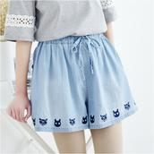shorts,denim,cats,embroidered,denim shorts,spandex shorts,spandex,mori girl,fairy kei,kawaii,kawaii shop,kawaii fashion shop,japanese fashion shop,cute fashion shop,fairy kei shop,pastel,pastel fashion,pastel shorts,pants,bottoms,cute bottoms,baby blue,pastel blue,korean fashion shop,japanese fashino shop,storenvy,tumblr girl,storenvy giveaway,facebook giveaways,sweeptakes,dejavucat