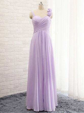 dress bridesmaid lavender purple flowers pleats low back asymmetrical chiffon a line lace up empire