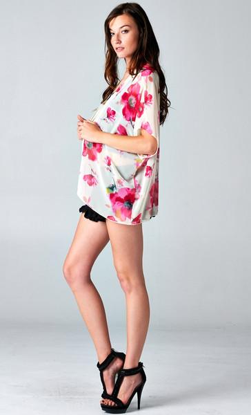 Short floral chiffon kimono cardigan