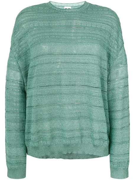 M Missoni - embroidered knitted top - women - Polyamide - M, Green, Polyamide