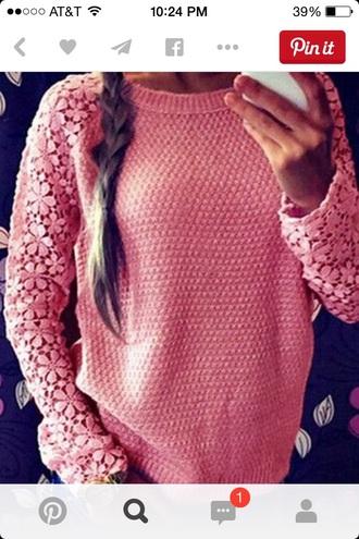 sweater rose pink crochet