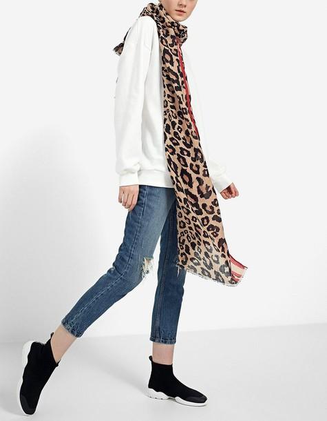 leopard print scarf scarf print beige leopard print