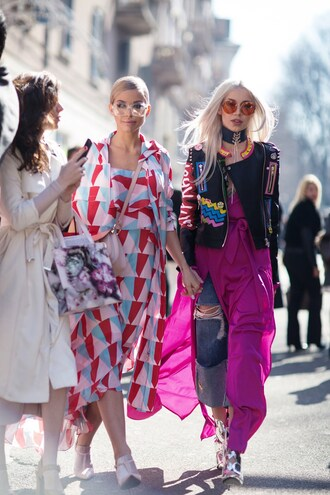 top long top tumblr pink top slit top dress midi dress printed dress sandals sandal heels high heel sandals metallic metallic shoes denim jeans blue jeans ripped jeans jacket black jacket black leather jacket leather jacket customized round sunglasses yellow sunglasses milan fashion week 2017 fashion week 2017 fashion week streetstyle