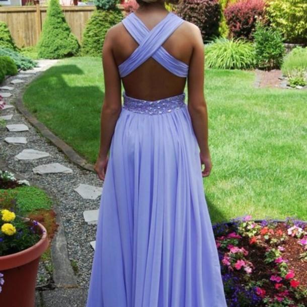 light purple backless prom dress, dress, pastel dress ...