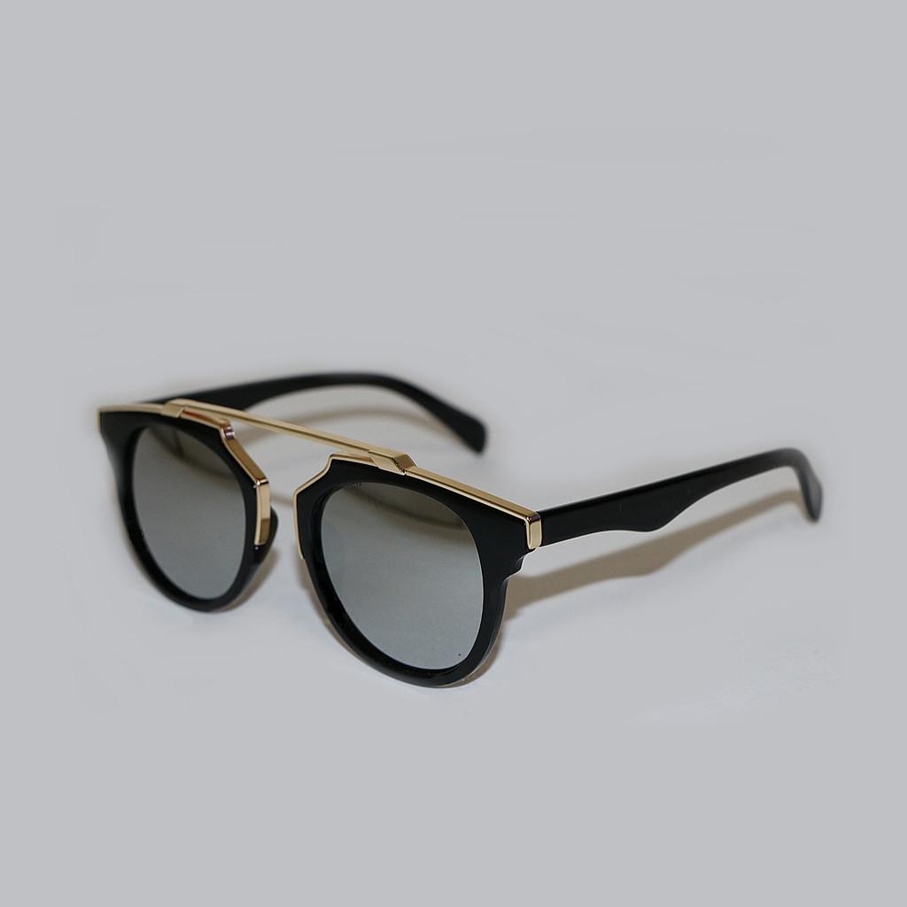 Silver Mirrored Sunglasses - Gold Rim