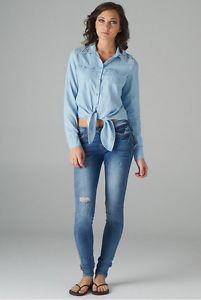 Cello Jean Studded Collar Tie Front Light Denim Shirt Top Free Shipping | eBay