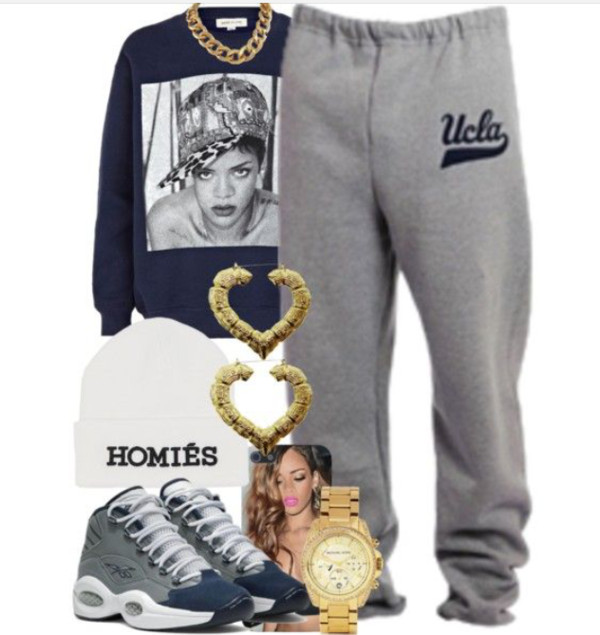 pants grey sweatpants ucla rihanna rihanna gold earings jordans homies skirt shoes sweater hat jewels t-shirt