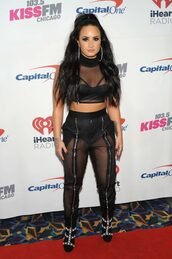 shoes,crop tops,top,sheer,black,pants,demi lovato