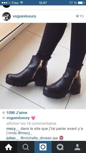 shoes black boots gold bottines fermeture eclair