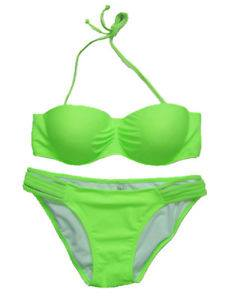 Lime structured bandeau strapless bikini set