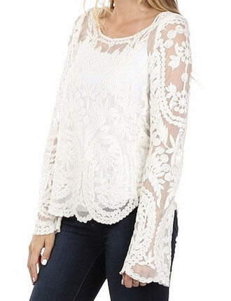 shirt embroidered lace long sleeves floral semi-sheer