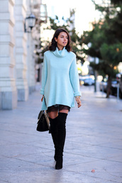 viva luxury,blogger,bag,jewels,aqua,turtleneck,thigh high boots,turtleneck sweater,pastel sweater,mini knit dress