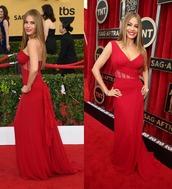 dress,one shoulder,gown,red dress,sofia vergara,prom dress,sag awards
