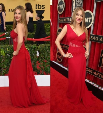 dress one shoulder gown red dress sofia vergara prom dress sag awards