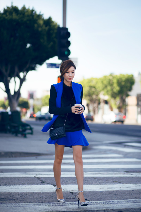 tsangtastic blogger jacket jewels bag blue ruffle stilettos