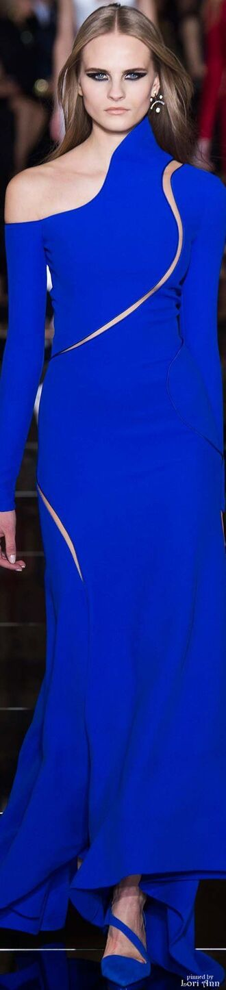 dress electric blue electric blue dress blue blue dress runway blue shoes cut-out dress long sleeves long sleeve dress