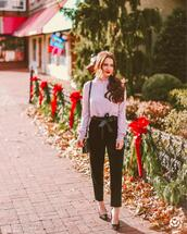 kiss me darling,blogger,pants,jeans,tights,top,sweater,jewels,shoes,blouse,pink blouse,spring outfits,pumps,black pants