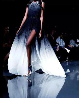 dress gradient grunge dress blue and white