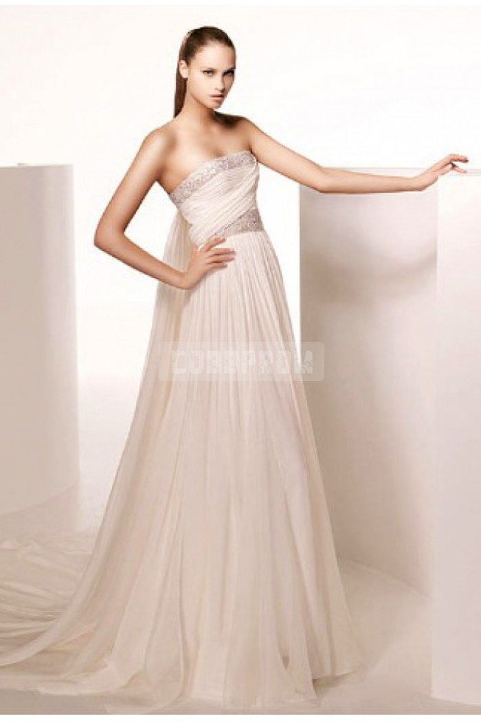 Strapless empire chiffon cathedral train column wedding dress