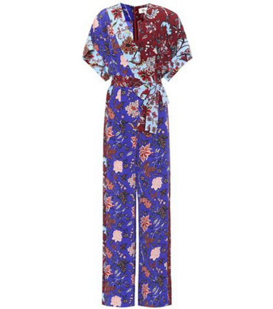 Diane Von Furstenberg jumpsuit floral blue