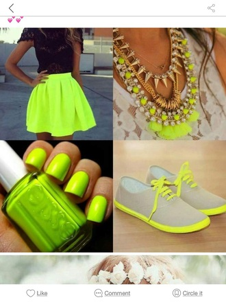 dress neon neon yellow skirt necklace sneakers nail polish