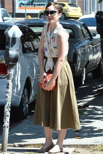 blouse midi skirt flats ballet flats lily collins