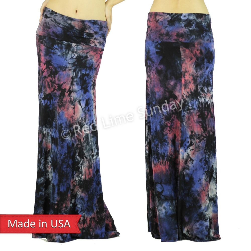 New Tie Dye Red Blue Women Boho Gypsy Fold Over Long Maxi Skirt Regular Plus USA
