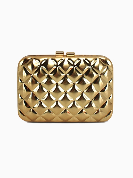 Gold Quilted Box Clutch Bag | Choies