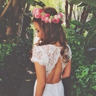 open back dresses flower crown little white dress dress white open back lace wedding clothes wedding dress hipster wedding white lace dress hair accessory floral headband flowers fashion style hair hairstyles bodycon dress white dress backless dress sleeveless dress