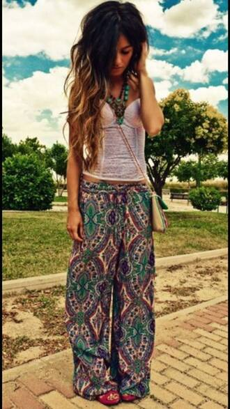 pants boho bohemian hippie pattern gypsy baggy loose cute girl green purple vintage white necklace big long lovely pretty gorgeous harem harlem blouse indie
