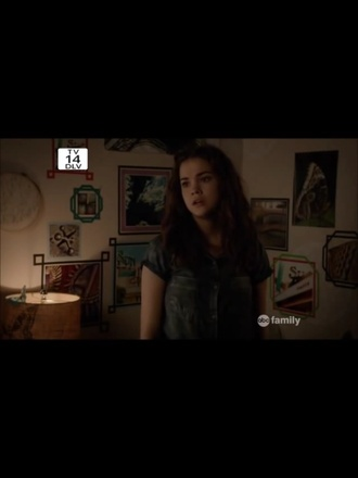 top maia mitchell the fosters grey shirt front pocket shirt