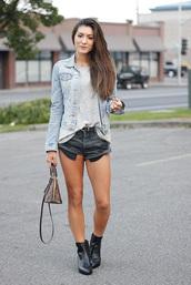 seekingsunshine,blogger,tank top,shorts,jacket,shoes,denim jacket,denim shorts,louis vuitton bag,handbag,fall outfits,ankle boots,boots