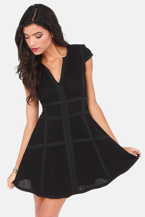 Cute Black Dress - Skater Dress - Dress With Sleeves - $75.00