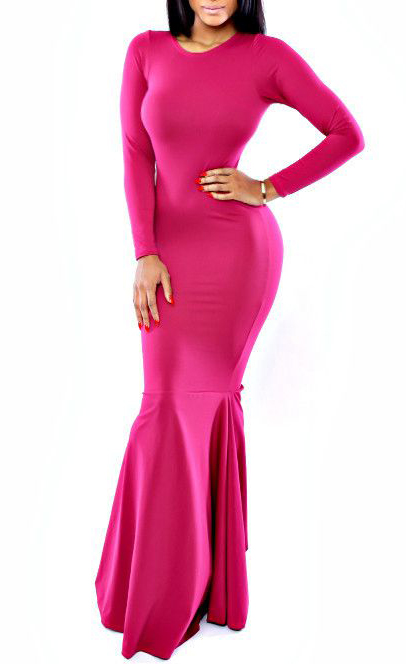 Red long sleeve evening dress yh8019