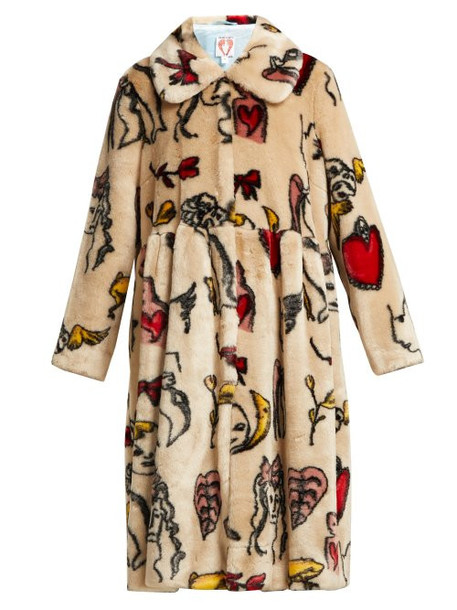 Shrimps - Eilis Printed Faux Fur Coat - Womens - Beige Multi
